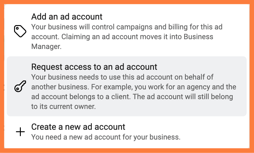 Business Manager AD ACCOUNT OPTIONS