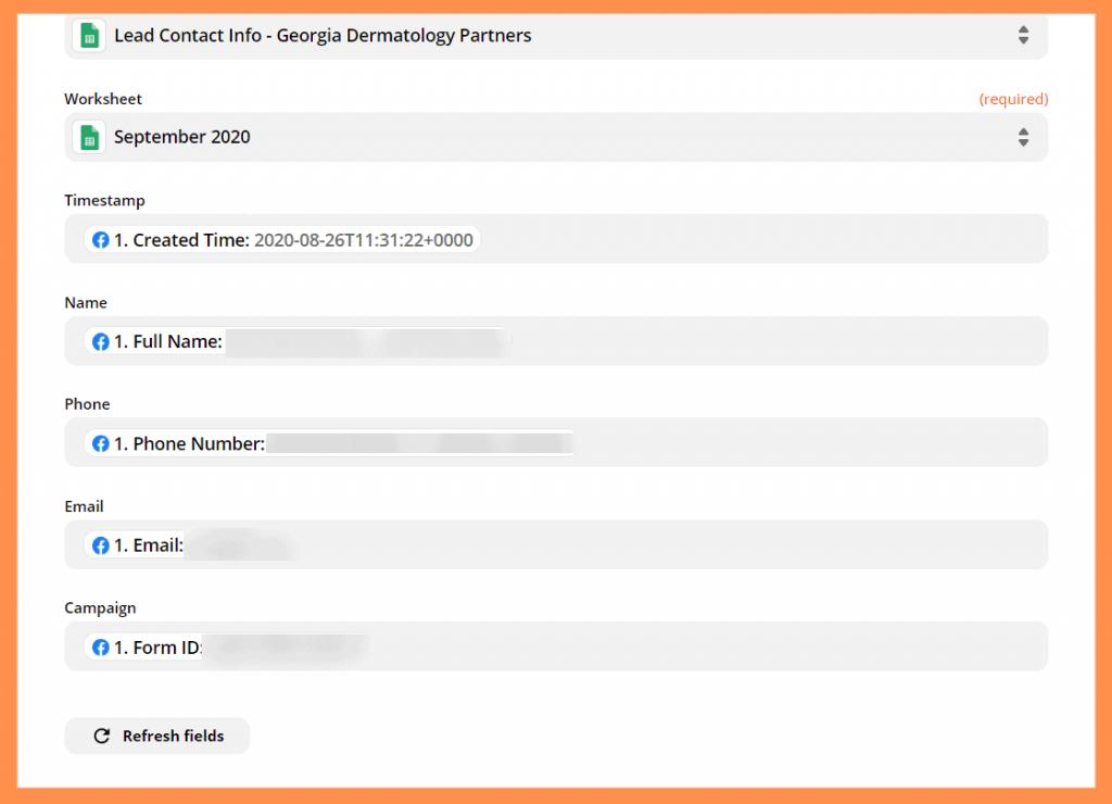 Zapier Customize Spreadsheet Info