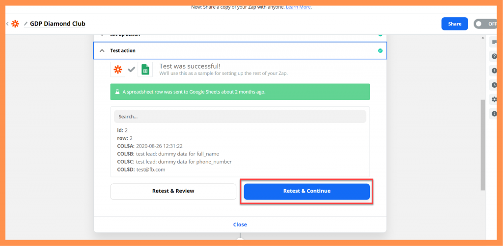 Zapier Test Google Sheet
