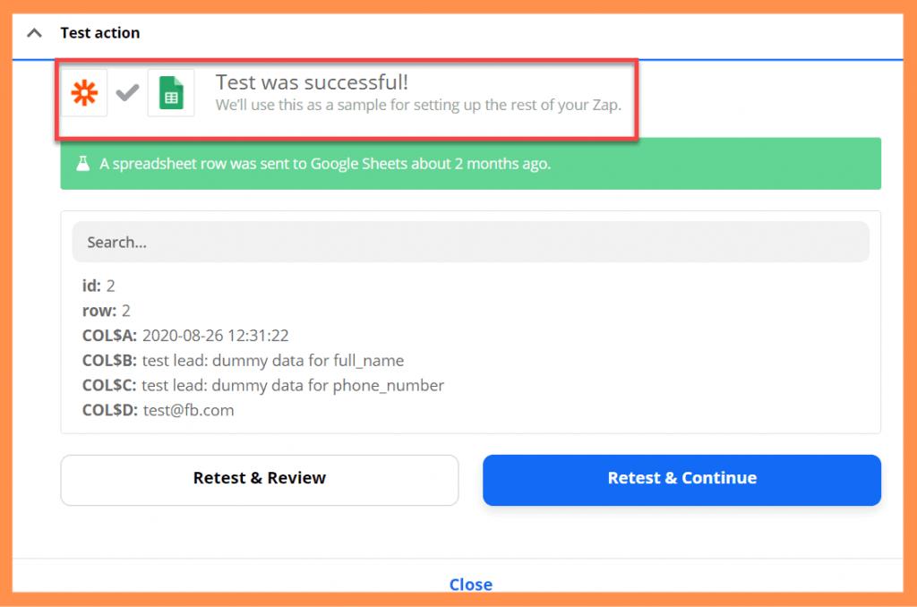 Zapier Google Sheet Test Successful