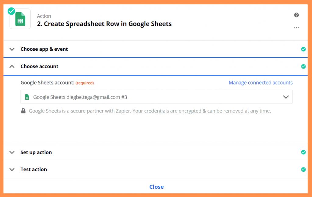 Zapier Connect Google Sheets