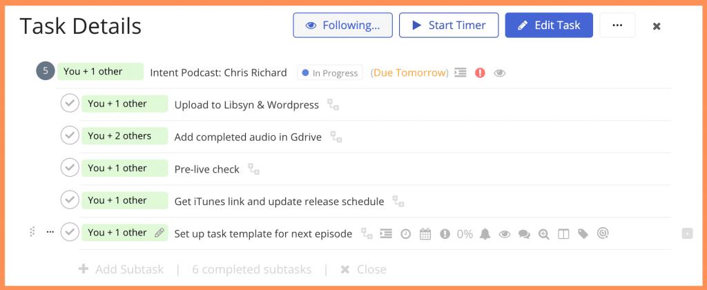 Teamwork Task Details